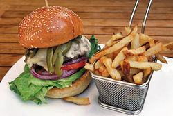 The Black Angus burger and fries.