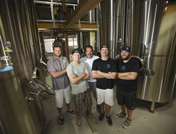 The Saltwater Brewery boys: Eaton (left), Gove, Taylor, Agardy, and Jeffers.