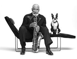 Sonny Rollins and Stubby, his longtime confidante and sax tech