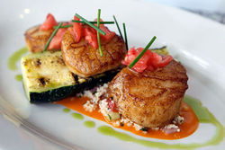 Seared sea scallops: Dense, firm, and sweet.