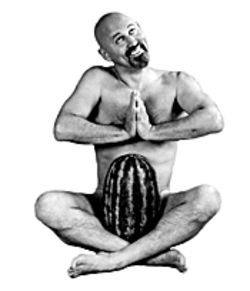 Gallagher does more than smash watermelons; he does yoga with them too.