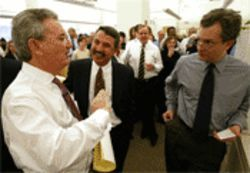 Tom Friedman (center) shares a laugh with former New York Times Editor Howell Raines (left) and current Publisher Art Sulzberger Jr.