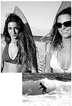 Top: Parya Jatala and Jenni Flanigan hope to convert their surfing addiction into money. Bottom: Parya slices through the surf on her shortboard.