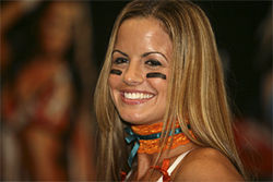 Tina Caccavale, the &quot;Ochocinco of the LFL,&quot; led the league in receptions and interceptions.