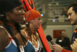 Anonka Dixon and Tina Caccavale take questions from reporters before the Lingerie Bowl.