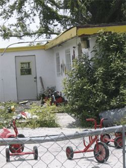 Camp Blanding Day Care sits silent and abandoned.
