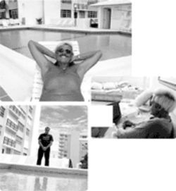 Clockwise from top: Barker, tanning poolside; surfing  the Internet  from his Hollywood condo;  Barker's  unofficial but enthusiastic manager, John Bedrosian