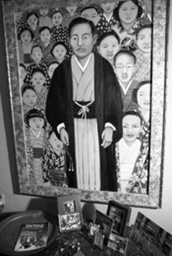 Cuqui Bonnell&#039;s painting Makiguchi Sensei depicts the sect&#039;s founder and first president