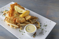 Fish N Chips: Narragansett battered cod, fries, and house-made tartar sauce.