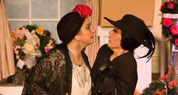 Merry Jo Cortada (right, with  Clelia Myers) plays her role with perfect balance.