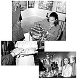 At top, Talbot Maxey pours tea for the first time at the Four Arts. Longer-standing members, including Valerie Fleming, at right, take half-hour turns acting as servants at the tea parties. The Four Arts rents out a team of white-clad maids, one of whom is shown at left, to pass out finger sandwiches.