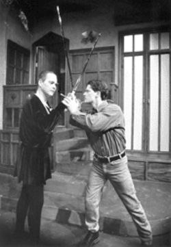 The ghost of Hamlets past: Barrymore (Wesley Stevens, left) won't give up his haunt to Andrew (Mark Whittington)