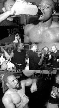 Though Warriors Boxing Gym is still under construction Andre Purlett (left) and Shannon Briggs have already started training there