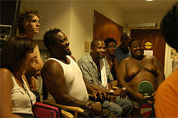 Who needs film school? Director Cess Silvera (in tank top) was a natural at calling the shots.
