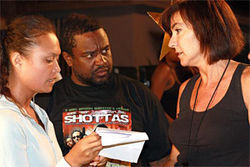 Silvera discusses a scene with assistant director Theresa Frankel (left) and script supervisor Melinda Taksen.