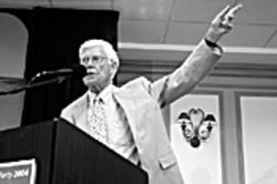 1980 presidential candidate John B. Anderson spoke at the presidential counterdebates in Coral Gables on September 30.