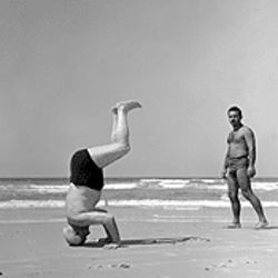 United we headstand: Paul Goldman photographed Israeli prime minister David Ben Gurion in 1957.