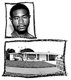 Above: Kevin Moore has an IQ of 54. On July 25, 2002, Kevin Moore murdered Yvonne Moss in this Deerfield Beach house.