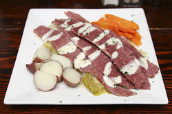 If you must eat as well as drink, try the corned beef and cabbage at the Field Irish Pub &amp; Eatery.