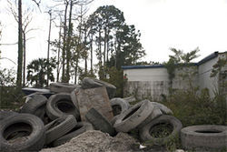 Down Wallis Road in West Palm, past these abandoned tires, sits Kings Wreckers, the recipient of 108 towing complaints over the past three and a half years.