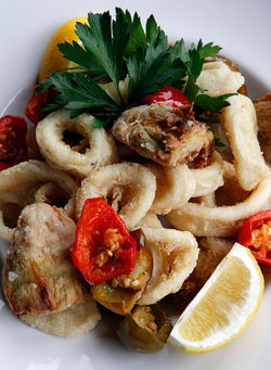Crispy calamari and Roman artichokes wth hot cherry peppers. Click here for more photos.