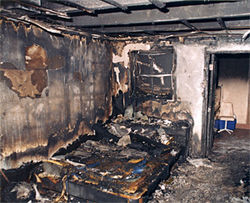Amanda Alley's charred bedroom the morning of July 27, 1998