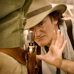 Quentin Tarantino on the set of Django Unchained.