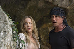 Stallone (with Benz): No, it's not that lovable mug Rocky. It's Rambo, the punishment junkie.