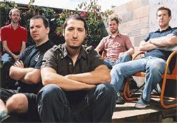 Pinback's Rob Crow (second from left) and Zach Smith (third from left) aren't much to look at.  Or talk to. But they make great alt-pop music.