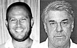 Mellor's homicidal smirk remained intact for his police mugshot (right), and, at left, Komyakevich