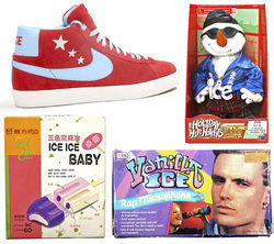 Rob says he torched most of the old Vanilla Ice clothes, but he keeps a collection of entertaining memorabilia, including dolls, an authorized Vanilla Ice Nike shoe, and an unauthorized Japanese ice cream bar.