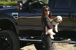 Rob&#039;s wife, Laura, and their miniature poodle.
