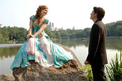 Amy Adams and Patrick Dempsey: A princess needs a cloud to sit on. Top, Susan Sarandon as the Queen.