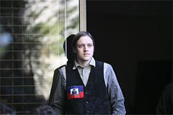 Win Butler, lead singer of Arcade Fire, played his first solo set ever at Rainn Wilson's party.
