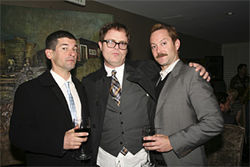 The fundraiser near Beverly Hills drew celebrities such as Robert Ben Garant and Thomas Lennon from Reno 911!  (with Wilson, center).