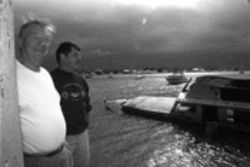 Creature from the Lake Worth lagoon: Bob Wilt (left) and Kurt Evans admire the sunken Sweet Head II
