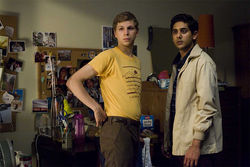 Michael Cera (left) as Nick Twisp and Adhir Kalyan as Vijay Joshi.